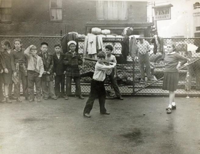 LRSH students playing baseball, 1940