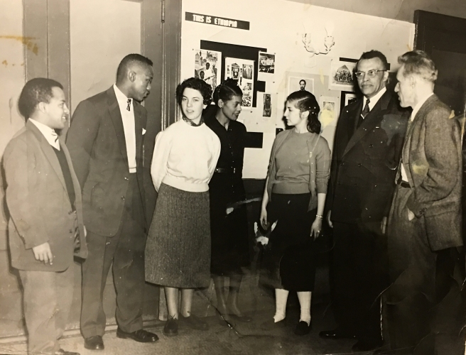 LREI students speaking with foreign exchange students from Ethiopia and France, ca 1955