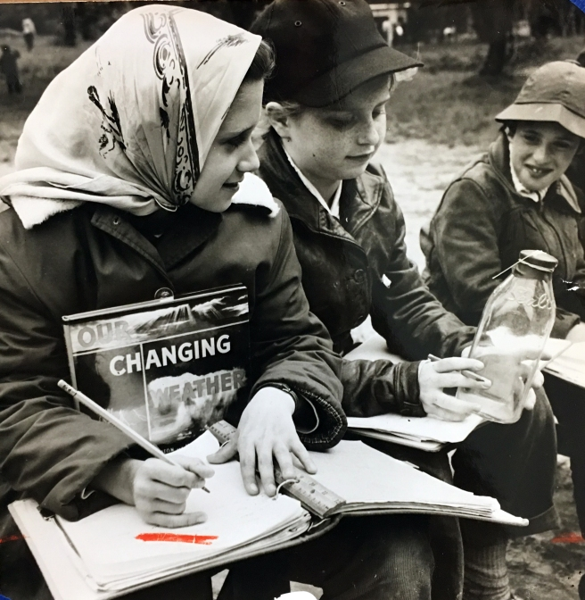 Weather Station at Camp Quannacut, 1958 with Erica Herzig, Susan Davidman, Susan Sacks